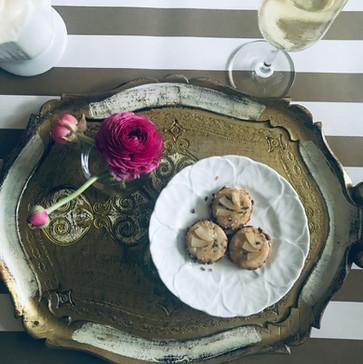 apricot stilton & lavender cracker w/prosecco poached pear