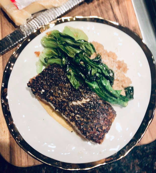 crisped seabass w/black pepper, confit of shallot & dijon butter