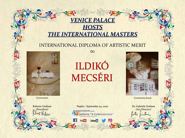 Diploma of artistic merit for Ildikó Mecséri.