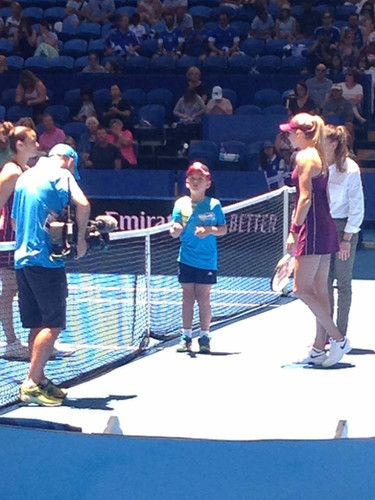 Daniel tossing the coin at the 2019 Hopman Cup Greece vs Great Britain