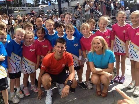 novak djokovic with hotshots kids