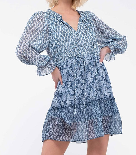 Blue Mixed Print Dress