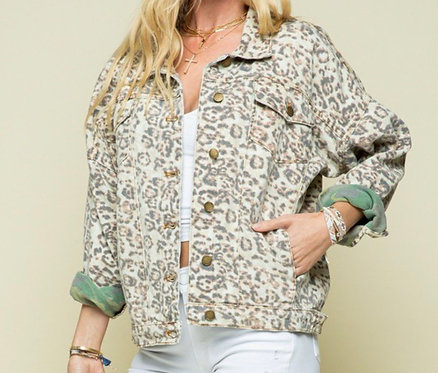 Leopard/Camo Denim Jacket