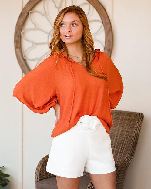 Orange Tie Front Top