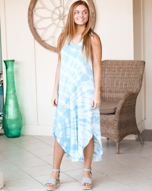 ZS Reverie Spiral Tie-Dye Dress (Blue)