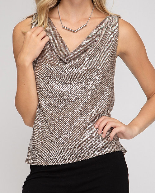 Taupe Sequin Cowl Neck Tank