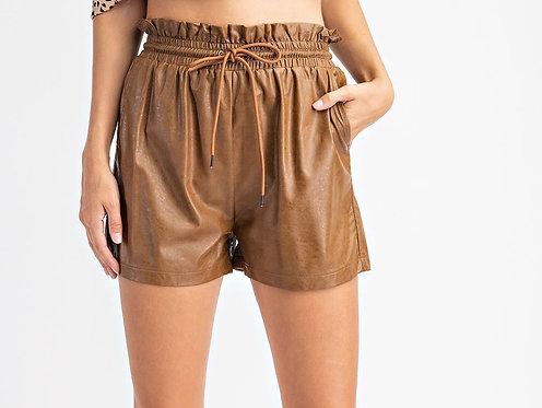 Camel Faux Leather Shorts