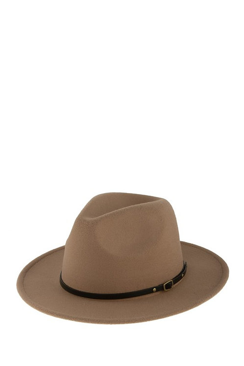 Taupe Leather Band Hat