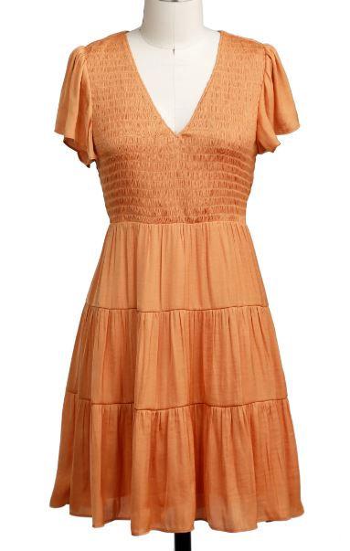 Orange Smocked Dress
