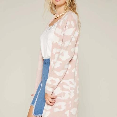 Pink Leopard Cardigan