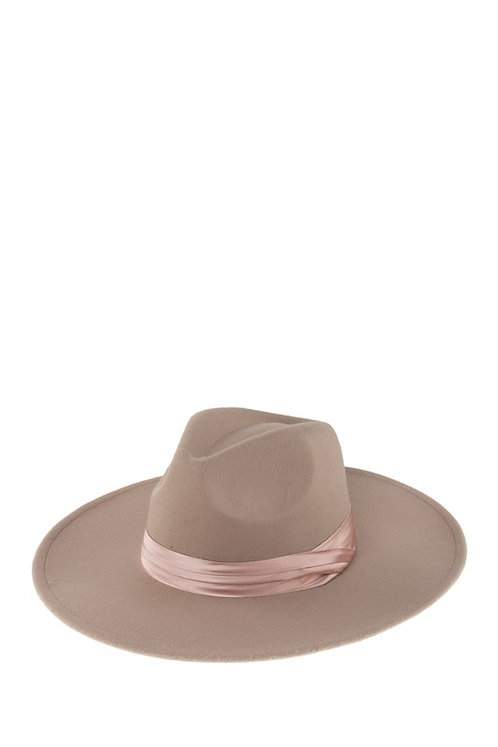 Taupe Satin Band Hat