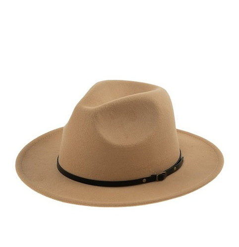 Camel Leather Band Hat