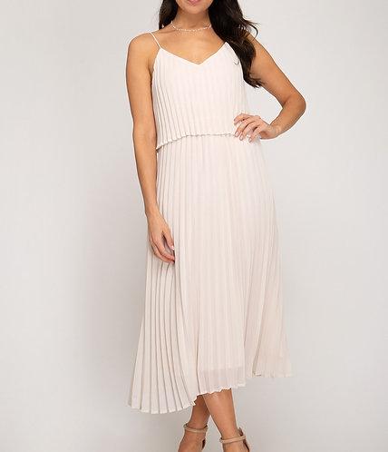 Almond Pleated Dress
