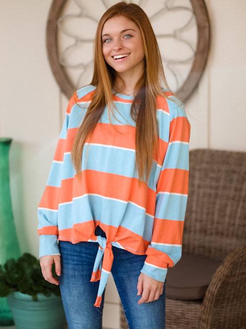 Orange/Blue Stripe Top