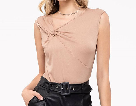 Asymmetrical Taupe Top