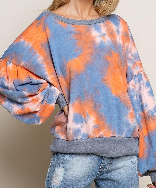 Orange/Blue Tie Dye Pullover