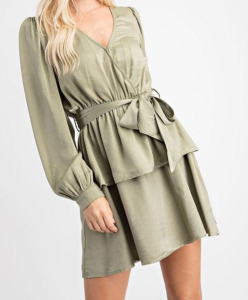 Olive Satin Dress