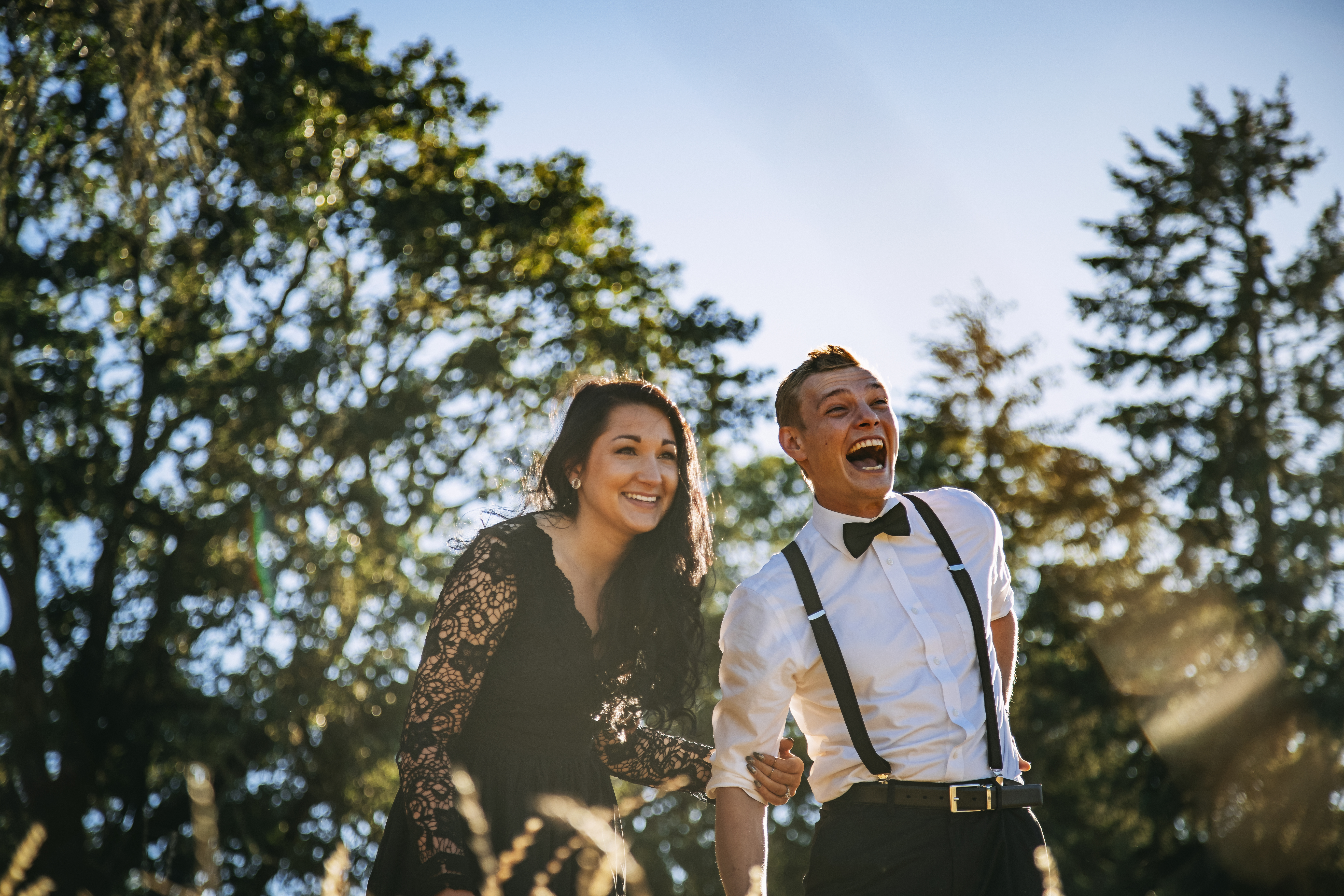 Laughing couple engagement video