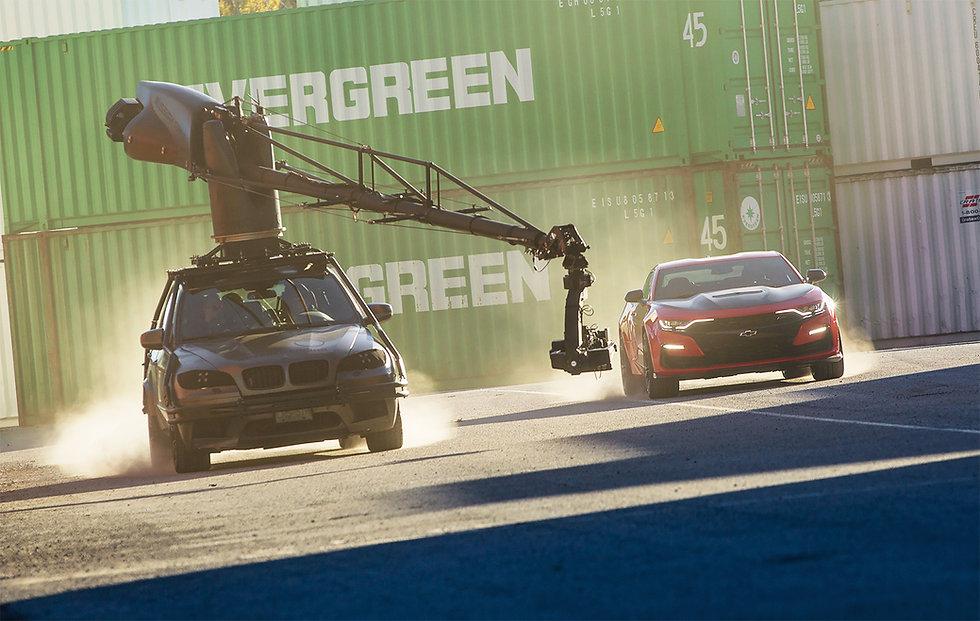 Filmotechnic Russian Arm X5M filming Chevrolet Camaro car commercial