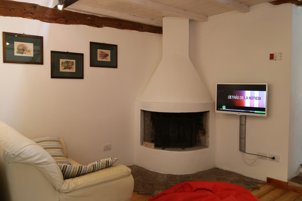 Living room with fireplace and sat TV