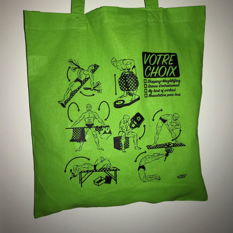 Musculation drawings for shopping bag