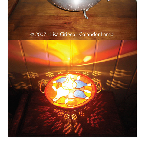 Stained Glass - Colander Lamp ©2007 Lisa Cirieco