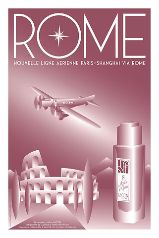 POSTER ROME FRAGRANCE FACON PARFUMS FINA
