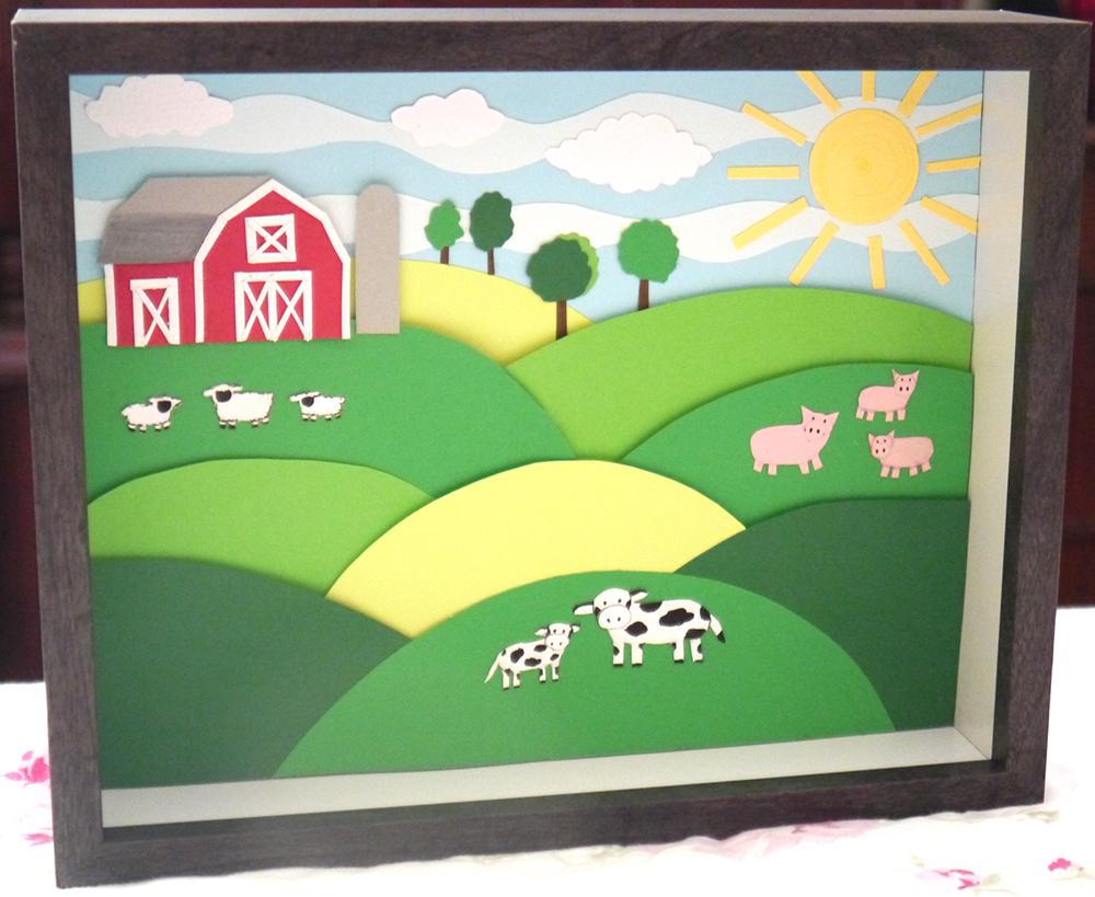 Paper Farm shadow box