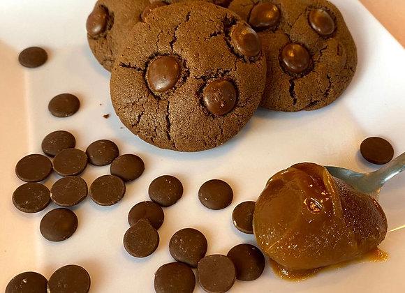 Mini Cookies congelado com recheio de caramelo (12 unidades) salgado