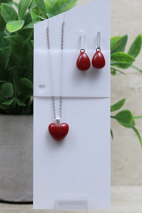 Red Glass Heart and Tear drop Set