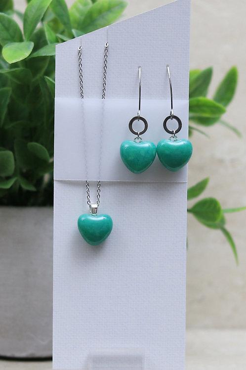 Jade Green Glass Heart Set