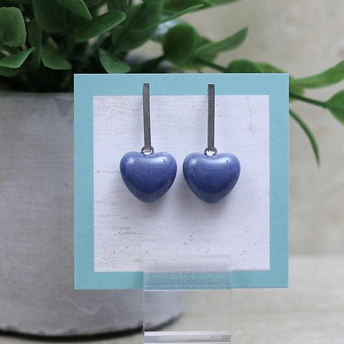 Blue/Gray Heart Post Earrings
