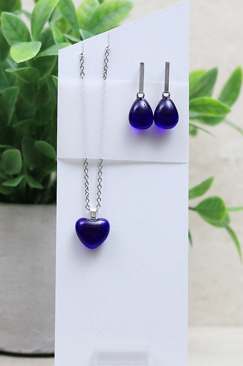 Deep Royal Blue Clear Glass Heart and Tear drop Set