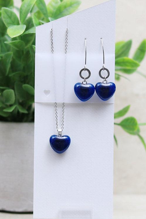 Dark Royal Blue Clear Glass Heart Set