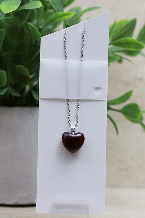 Cranberry Clear Glass Heart Necklace