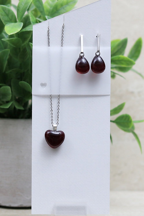 Cranberry Clear Glass Heart and Tear drop Set