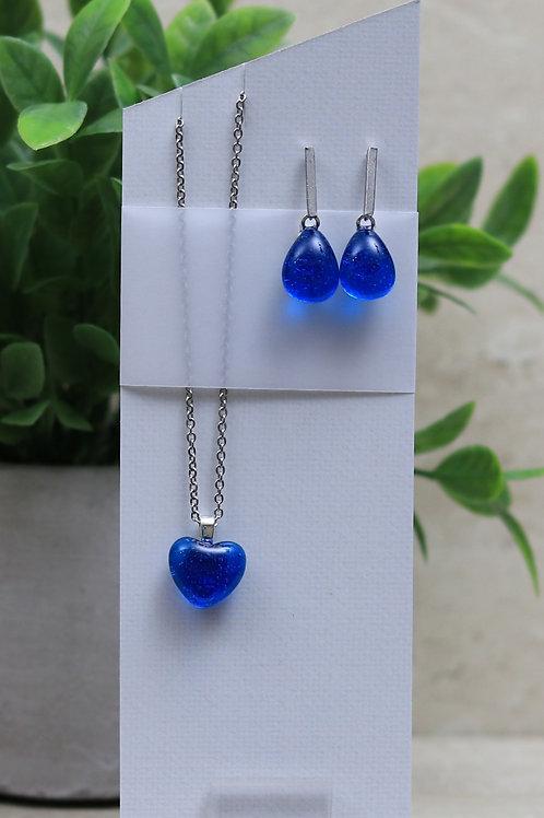 Blue Topaz Clear Glass Heart and Tear drop Set