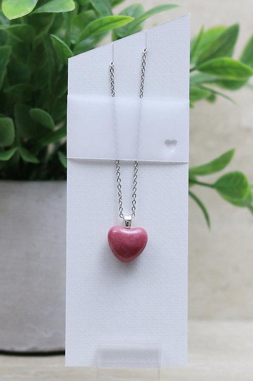 Pink Glass Heart Pendant