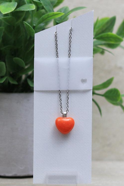 Orange Glass Heart Pendant