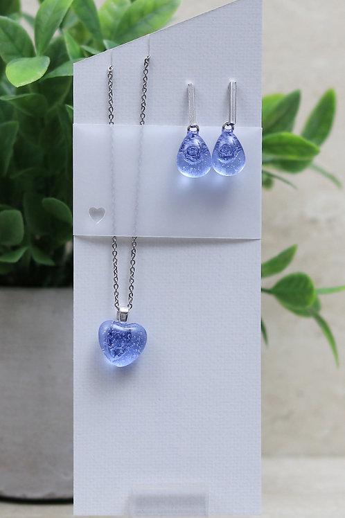 Light Blue/Purple Clear Glass Heart and Tear drop Set