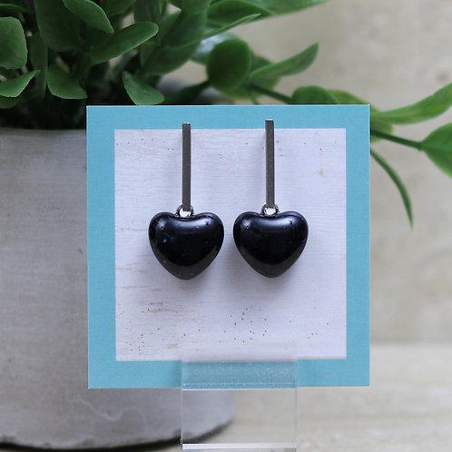 Dark Dark Blue (almost Black) Sparkle Heart Post Earrings