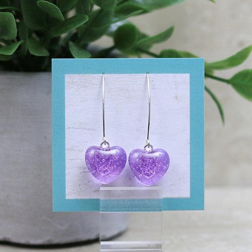 Lavendar Clear Glass Heart