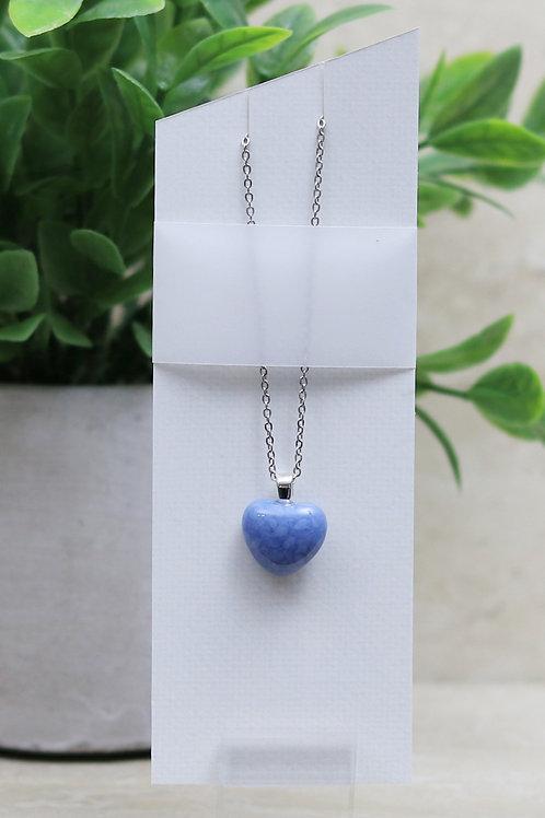 Light Blue/Gray Glass Heart Pendant