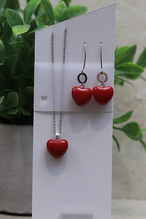 Red Glass Heart Set
