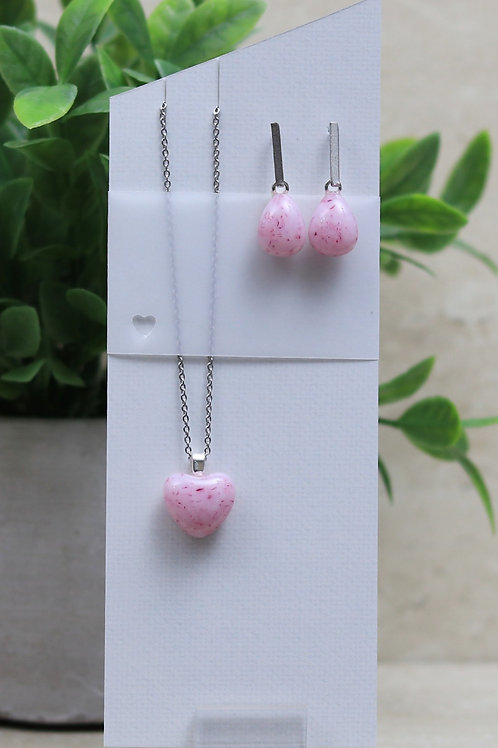 Pink and Cranberry Glass Heart and Tear drop Set