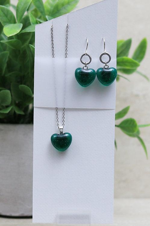 Emerald Green Clear Glass Heart Set