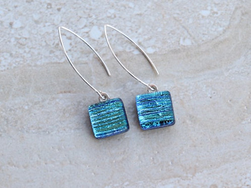 Light Aqua Dichroic Earrings