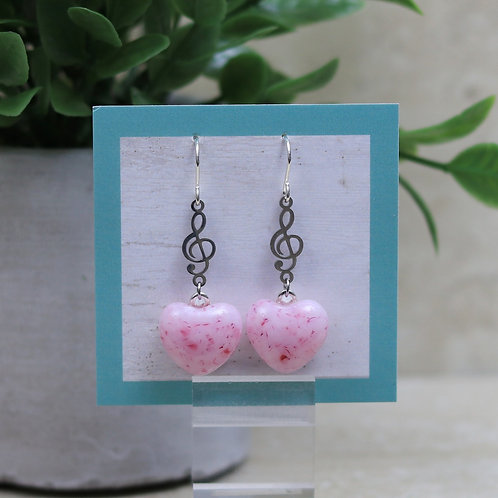 Pink and Cranberry Glass Heart with Musical Note