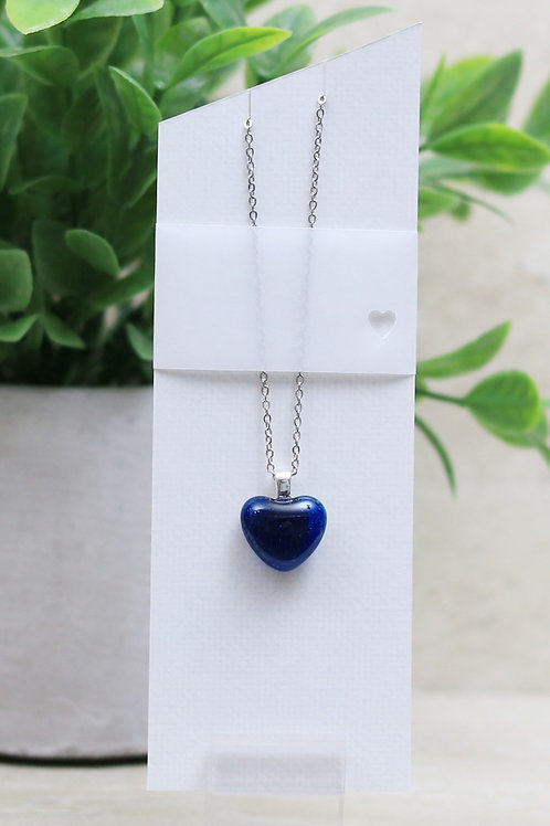 Deep Royal Blue Clear Glass Heart Necklace
