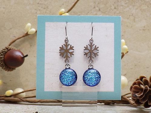 Aqua Blue Dichroic with Snowflake